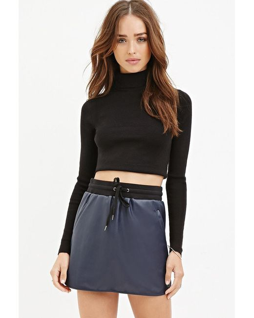Forever 21 | Blue Faux Leather Drawstring Skirt | Lyst