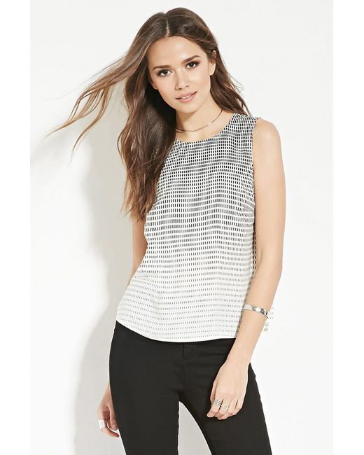 Forever 21 | Gray Contemporary Square Print Top | Lyst