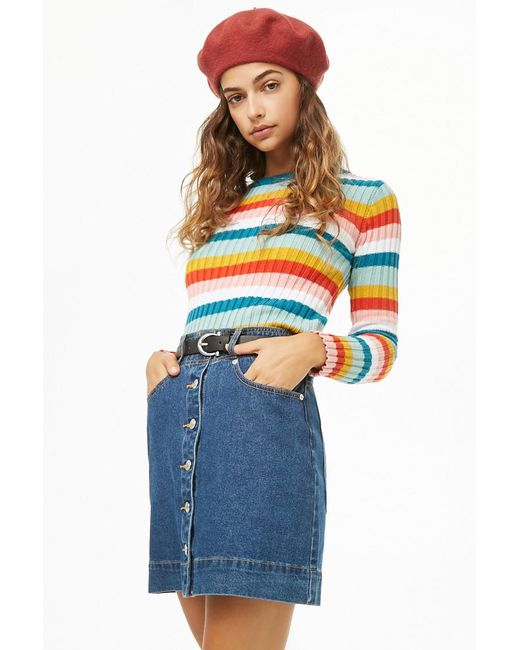 Forever 21 - Blue Women's Ribbed Multicolor Jumper Sweater - Lyst