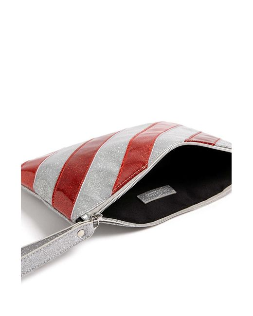FOREVER21 - Red Candy Stripe Glitter Clutch - Lyst