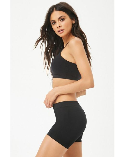 Forever 21 - Black Ribbed-trim Seamless Shorts - Lyst