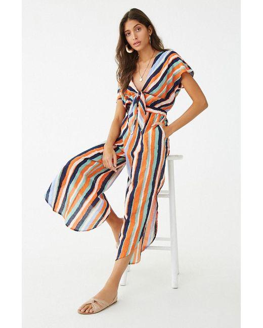 02bbf895ddda Forever 21 - Orange Striped Tie-front Jumpsuit - Lyst ...