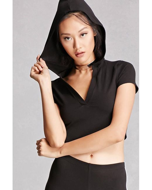 Forever 21 | Black Hooded Crop Top | Lyst