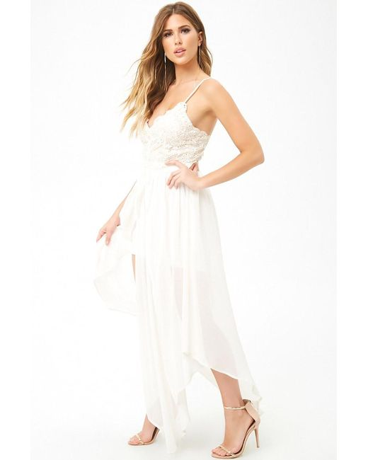 6d7be4b67d44 ... Forever 21 - White Lace Bodice Chiffon Gown - Lyst