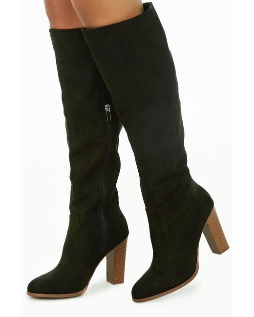 Forever 21 - Black Faux Suede Stacked Heel Boots - Lyst