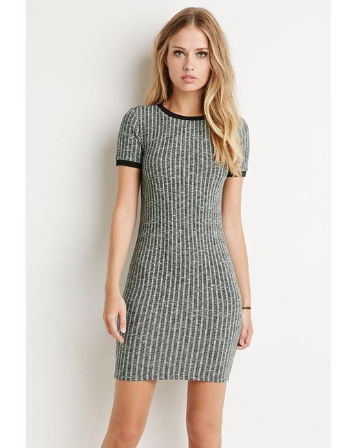 Forever 21 | Green Ribbed Knit Marled Dress | Lyst