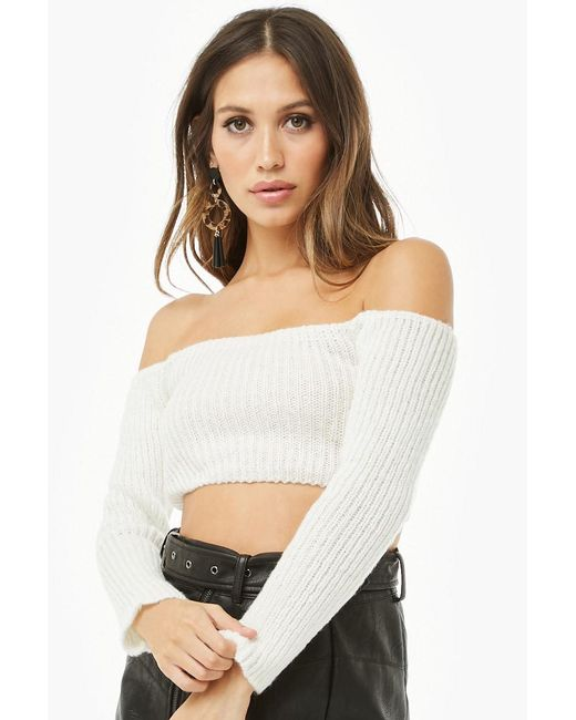 44a89e81916 Forever 21 - White Off-the-shoulder Sweater-knit Crop Top - Lyst ...