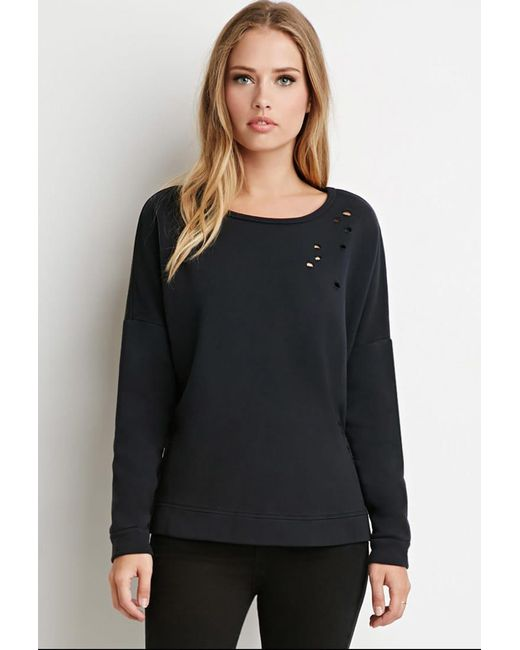 Forever 21 | Black Dolman-sleeve Distressed Sweatshirt | Lyst