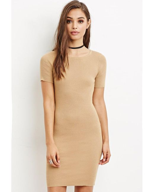 Forever 21   Natural Ribbed Knit Bodycon Dress   Lyst