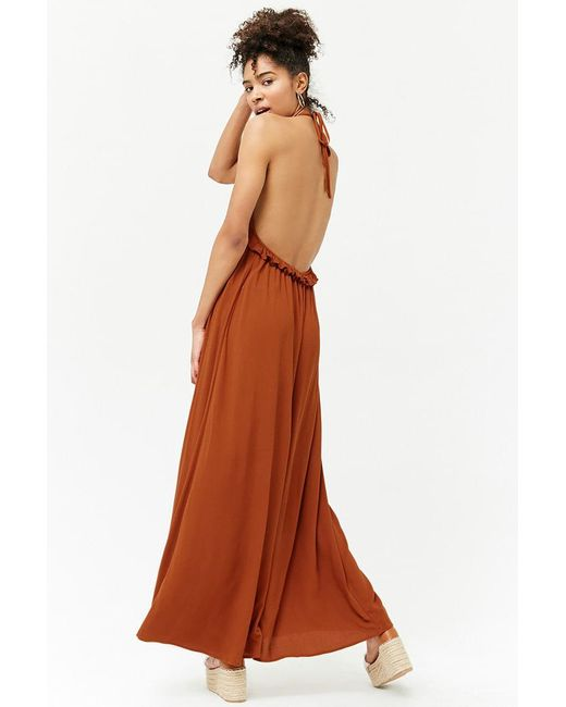 Forever 21 - Brown Plunging Halter Maxi Dress - Lyst ... 9dd3cb38b