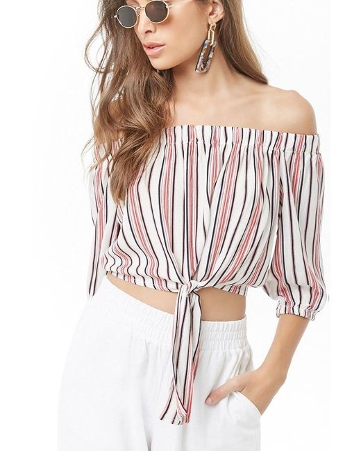 24dff63b5404e1 Forever 21 - White Striped Off-the-shoulder Tie-hem Top - Lyst ...