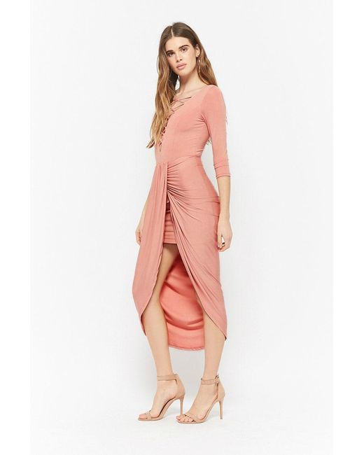 Forever 21 - Purple Plunging High-low Tulip Dress - Lyst