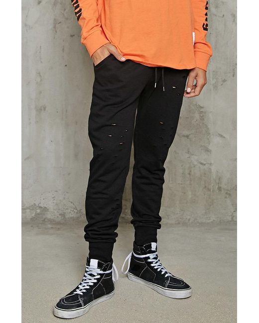 Forever 21 - Black Distressed Terry Sweatpants for Men - Lyst