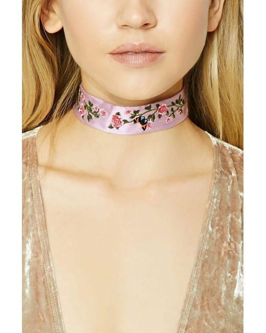 Forever 21 - Pink Floral Embroidered Choker - Lyst