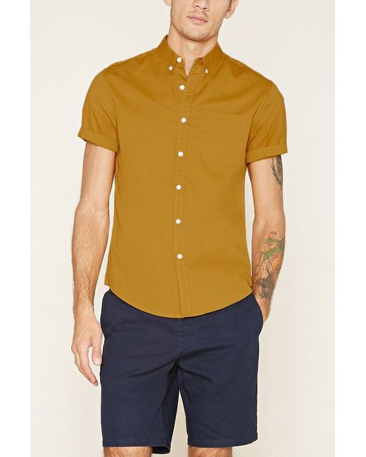 Forever 21 | Brown Button-collar Shirt for Men | Lyst