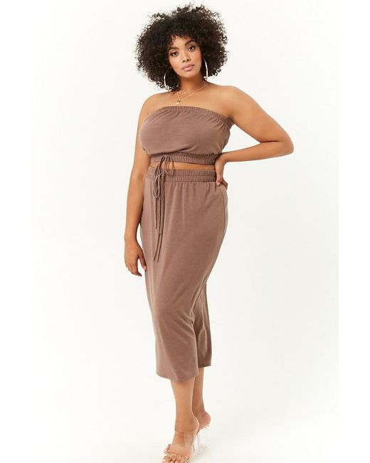bc84b9854be4c1 Forever 21 - Brown Women s Plus Size French Terry Cropped Tube Top   Midi  Skirt Set ...