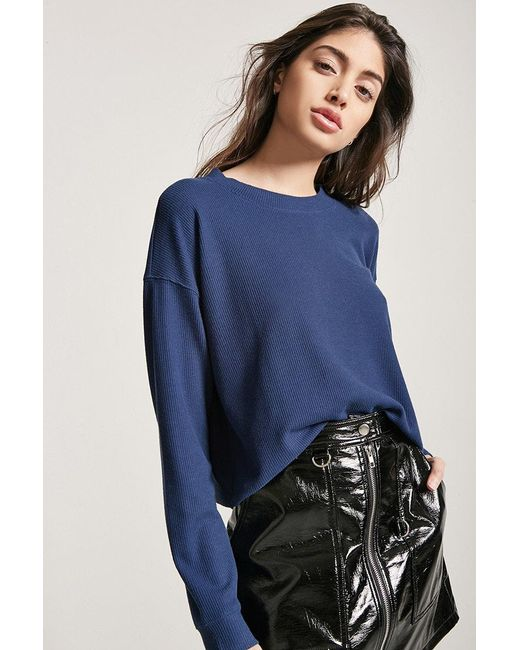 Lyst Forever 21 Boxy Waffle Knit Top In Blue