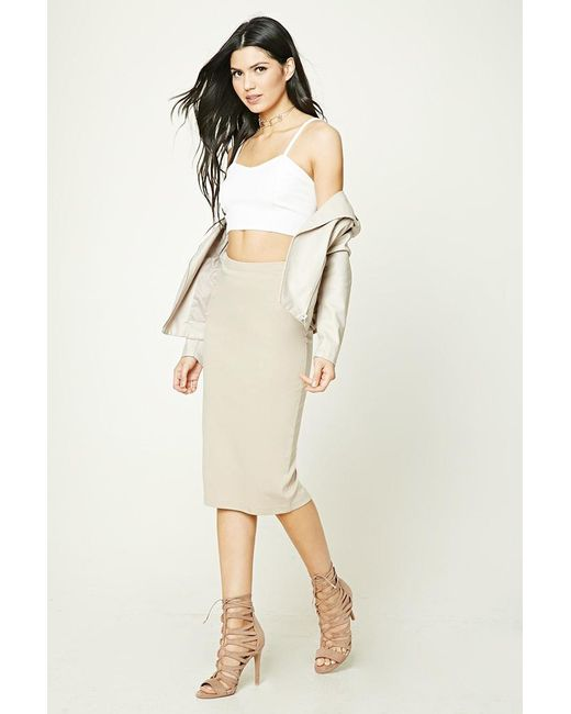 Forever 21 | Natural Stretch-knit Skirt | Lyst