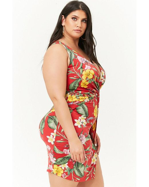a63dd9fb94d Forever 21 Women s Plus Size Tropical Floral Mini Dress in Red - Lyst