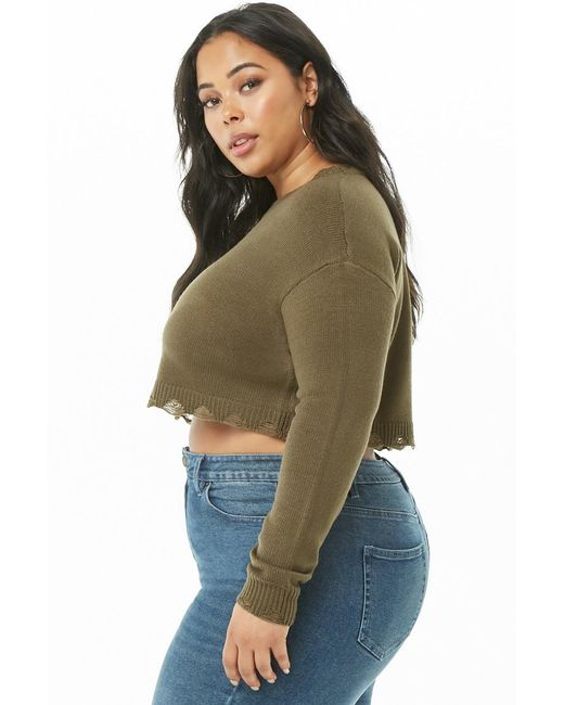 Forever 21 Womens Plus Size Distressed Jumper Sweater In Green Lyst