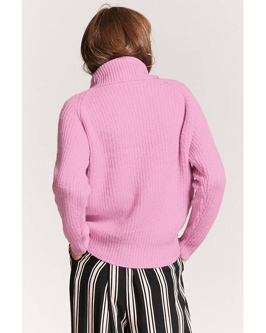 Forever 21 Ribbed Turtleneck Sweater in Pink | Lyst