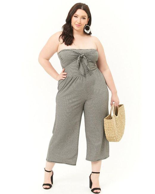 8707c7e34bd99 Forever 21 - Black Women s Plus Size Striped Knotted Jumpsuit - Lyst ...