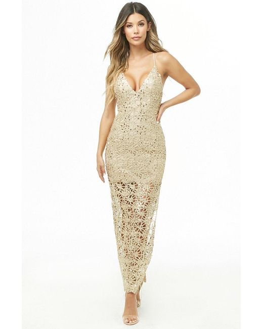 2e52e11dc63 Forever 21 - Metallic Plunging Sequin Maxi Dress - Lyst ...