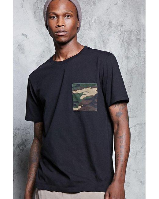 Forever 21 | Black Camo Print Pocket Tee for Men | Lyst