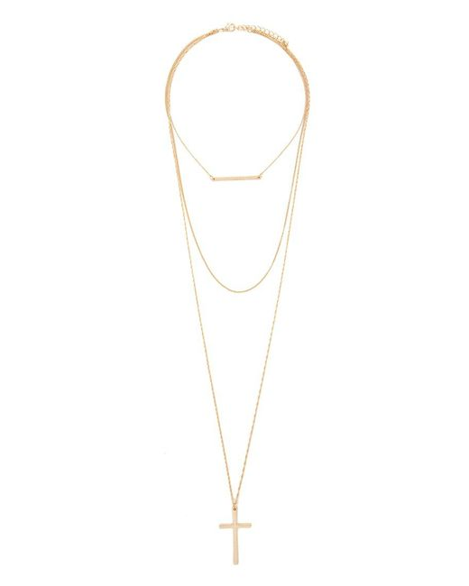Forever 21 | Metallic Layered Cross Pendant Necklace | Lyst