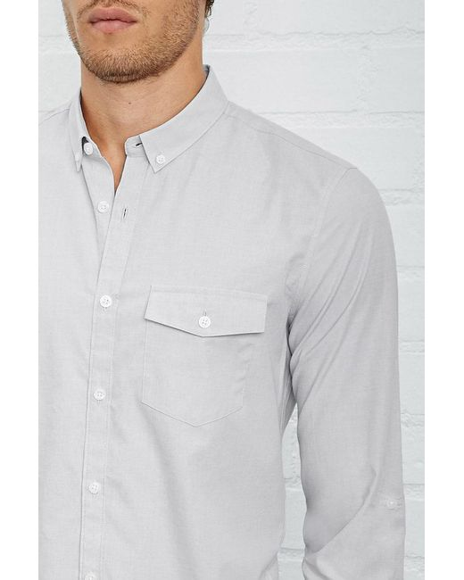 Forever 21 - Gray Fitted Button-down Shirt for Men - Lyst