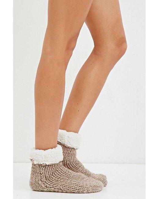 Forever 21 | Natural Knit Slipper Socks | Lyst
