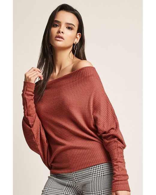 Forever 21 Waffle Knit Top In Red Lyst