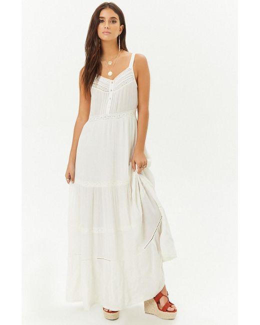 7577ce7926 Forever 21 - White Crochet-trim Maxi Dress - Lyst ...