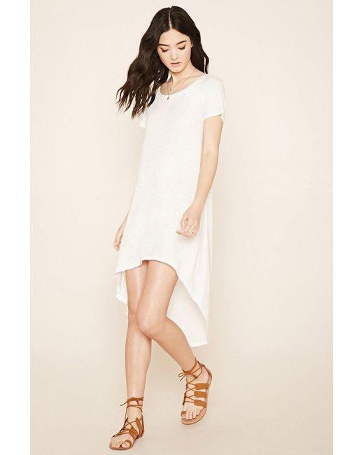 Forever 21   Natural Curved-hem T-shirt Dress   Lyst