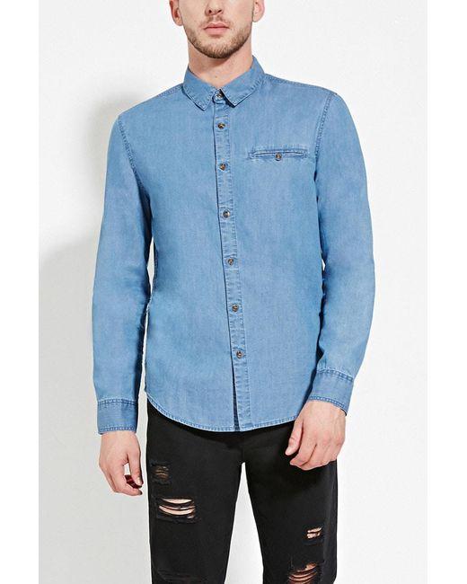 Forever 21 - Blue Denim Pocket Shirt for Men - Lyst