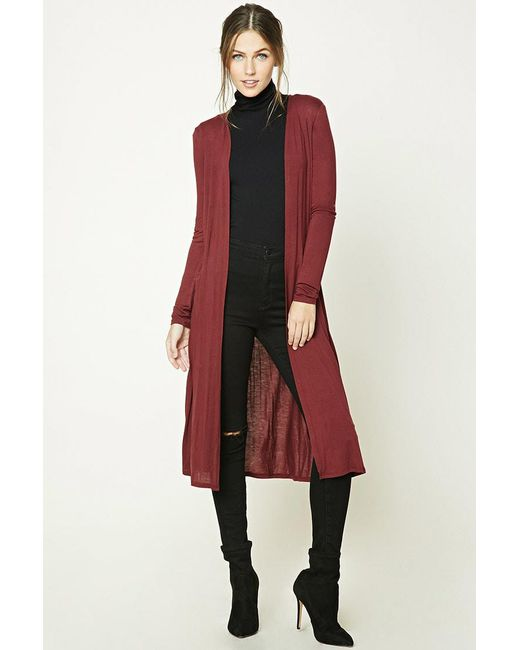 Forever 21 | Red Open-front Longline Cardigan | Lyst