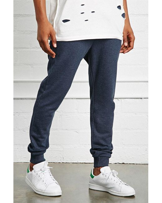 Forever 21 - Blue Drawstring Heathered Joggers for Men - Lyst
