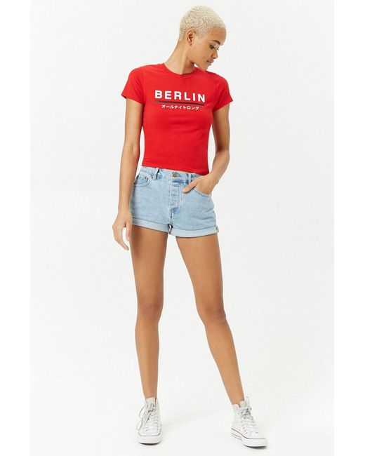 36bd6f5a3 Forever 21 Women's Berlin Graphic Tee Shirt in Red - Save 58% - Lyst