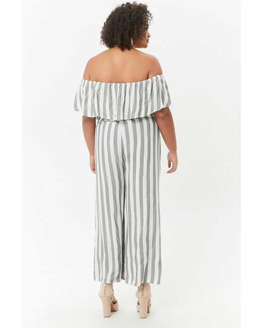 23efe45561 ... Forever 21 - White Women's Plus Size Striped Off-the-shoulder Palazzo  Jumpsuit ...