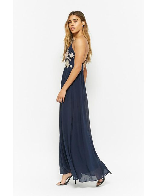 82f35997ca58 ... Forever 21 - Blue Metallic Embroidered Maxi Dress - Lyst