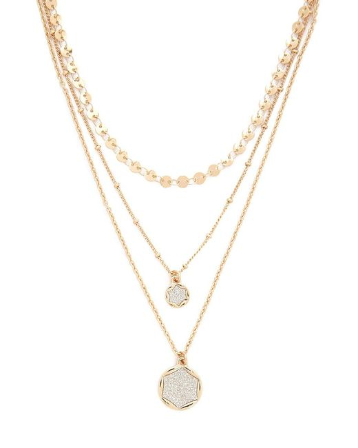 Forever 21 Metallic Druzy Layered Necklace , Gold