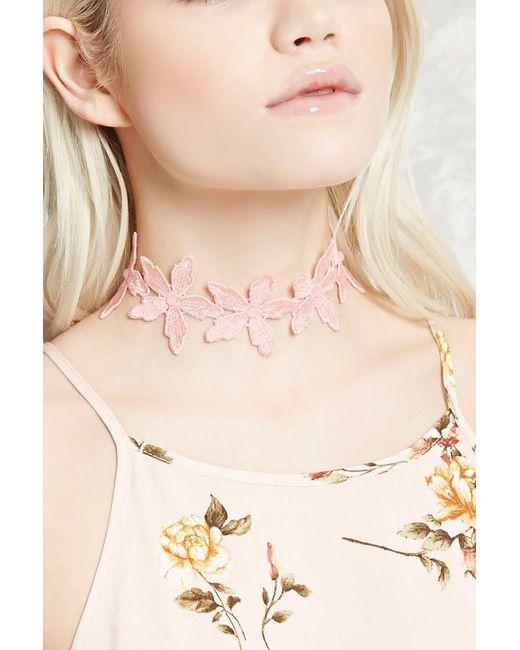 Forever 21 - Pink Floral Crochet Choker - Lyst