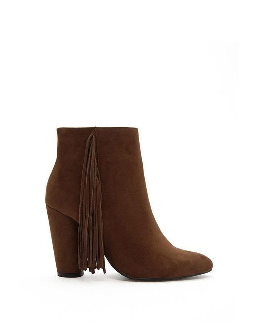 Forever 21 - Brown Faux Suede Fringe Booties - Lyst