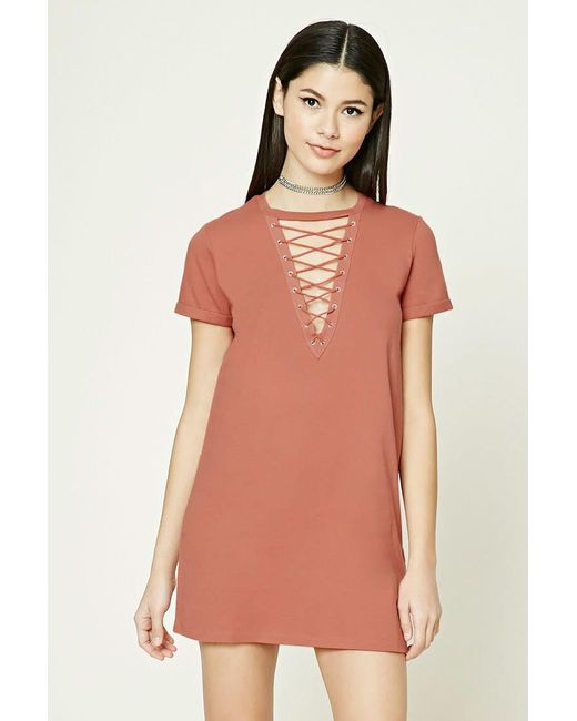 Forever 21 | Multicolor Crisscross Lace-up Dress | Lyst