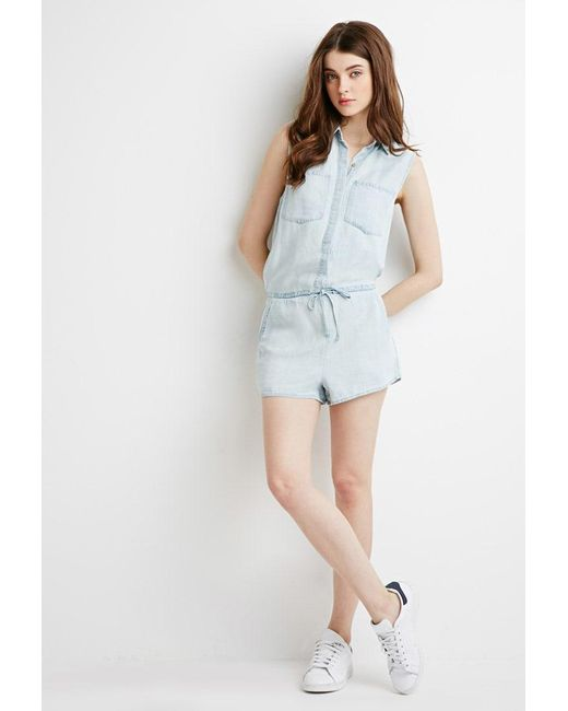 Forever 21 | Blue Chambray Pocket Playsuit | Lyst