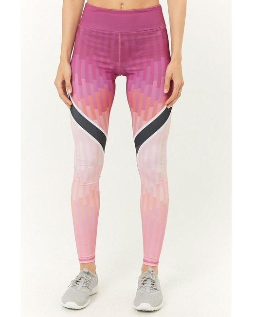 0a9fe10acc3a28 ... Forever 21 - Pink Active Geo Print Leggings - Lyst