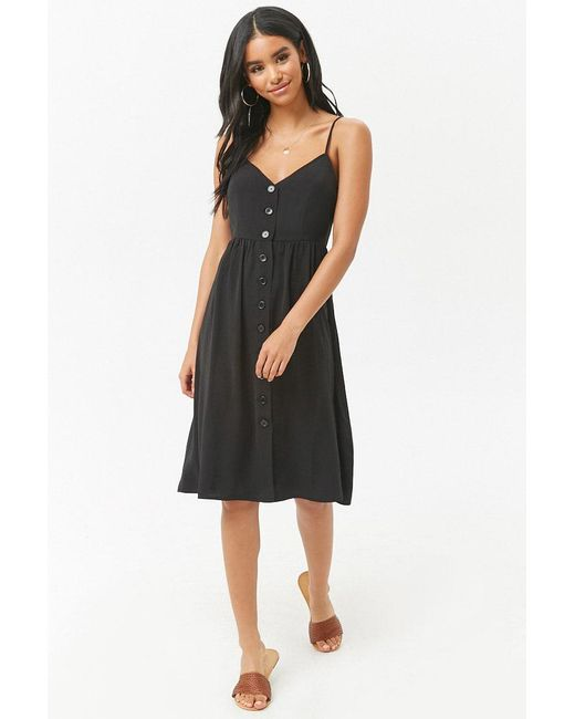 Forever 21 - Black Button-front Cami Midi Dress - Lyst