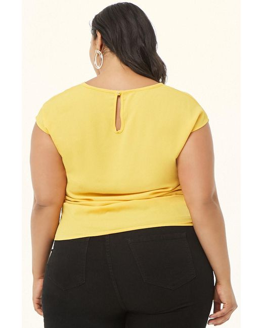 d845bde946ab82 ... Lyst Forever 21 - Yellow Women's Plus Size Crepe Ruched Top ...