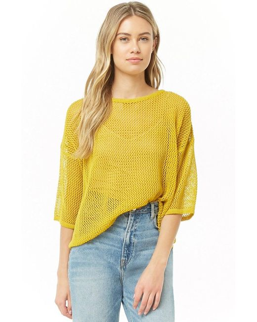 Forever 21 Yellow Open-knit Dolman Sweater , Citron