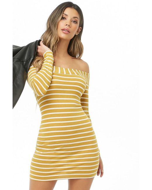 Forever 21 - Yellow Striped Off-the-shoulder Mini Dress - Lyst ... 0ed452c1d